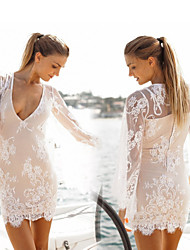 Women's Halter One-pieces / Cover-Ups , Solid One-Pieces Lace / Organza White