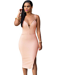 Women's Sexy / Party / Cocktail Solid Shift Dress , Strap Knee-length Polyester / Spandex