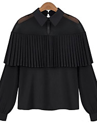 Women's Casual/Daily Street chic Summer Blouse,Solid Peter Pan Collar Long Sleeve White / Black Acrylic / Polyester Thin
