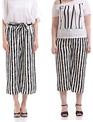 Women's Striped White / Black Wide Leg Pants,Casual / Day