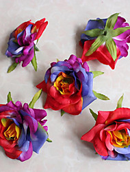Silk Flower Roses Flower Heads  Artificial Flowers Heads Fabric Floral
