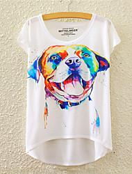 Damen Blumen Niedlich / Aktiv Sport T-shirt,Rundhalsausschnitt Alle Saisons Kurzarm Mehrfarbig Baumwolle Mittel