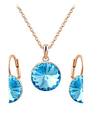 HKTC Women's Round Blue Sapphire Crystal Pendant Necklace and Dangle Earrings Jewelry Set