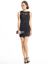 TS Couture Cocktail Party Dress - Little Black Dress Sheath / Column Jewel Short / Mini Jersey with Appliques Criss Cross