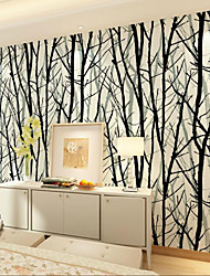 al-mullk Trees/Leaves Wallpaper Contemporary Wall Covering , Non-woven Paper Simple 3D Green Branches