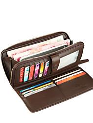 Mens Wallet Brown Soft Litchi Stria Genuine Leather Bifold Clutch Pouch ID Credit Card Zipper Pocket Wallet Purse