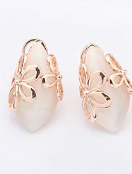 Sweet Fresh Flower Golden Plated Opal Alloy Stud Earrings