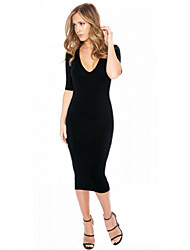Women's Sexy Polyester Deep V Neck Midi Sleeve Backless Bodycon Dress