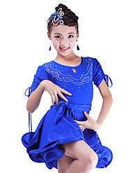 Latin Dance Dresses Children's Performance Spandex Crystals/Rhinestones 1 Piece DressDress length S:54cm / M:56cm / L:58cm / XL:60cm /