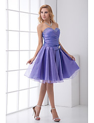 Knee-length Taffeta Bridesmaid Dress A-line Sweetheart