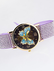 Women's European Style New Fashion Trend Rhinestone Casual Colorful Butterfly Bracelet Watch