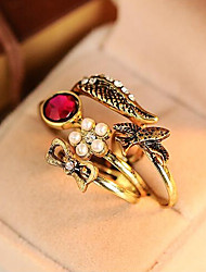 Midi Rings Gemstone Pearl Imitation Pearl Rhinestone Alloy Wings / Feather Jewelry Daily Casual 1set
