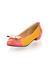 Women's Heels Spring / Summer / Fall / Winter Comfort Leatherette Wedding / Outdoor / Dress Low Heel Bowknot / Split JointBlack / Yellow