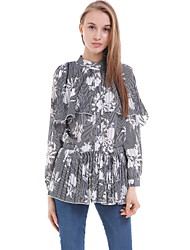 Women's Casual/Daily Simple Blouse,Floral Round Neck Long Sleeve Blue Silk Opaque