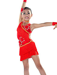 Latin Dance Outfits Children's Performance Spandex Tassel(s) 5 Pieces Sleeves / Dress / Neckwear / HeadpiecesDress length M(120):62cm /