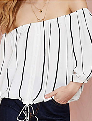 Women's Striped White Blouse , Off Shoulder Long Sleeve