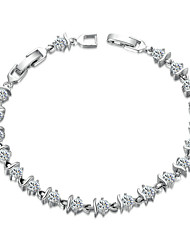 HKTC Noble Princess Bracelet 18k White Gold Plated Rhinestones S Style Clear Simulated Diamond Crystals Jewelry
