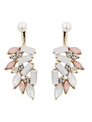 Fashion Women Trendy Opal Color Stone Set Front And Back Earrings