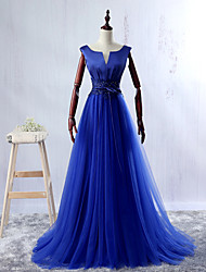 Ball Gown V-neck Floor Length Lace Satin Tulle Formal Evening Dress with Bow(s)