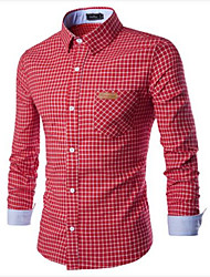 Men's Plaids Casual Shirt,Cotton Long Sleeve Blue / Green / Pink / Red