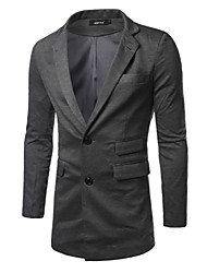 Men's Long Sleeve Long Blazer,Cotton Solid