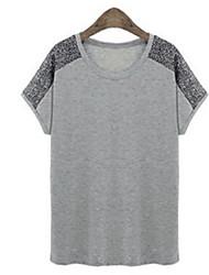 Damen Patchwork Übergröße Lässig/Alltäglich T-shirt,Rundhalsausschnitt Sommer Kurzarm Schwarz / Grau Polyester Dünn
