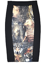 Women's Printing High Waist Package Skirts Bodycon OL  Office Lady Business Dress