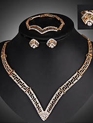 Lucky Doll 18K Gold Plated Rhinestone Tassel Necklace & Earrings & Bracelet & Ring Jewelry Sets