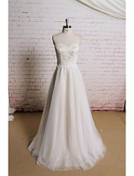A-line Wedding Dress - Champagne Floor-length Sweetheart Satin / Tulle