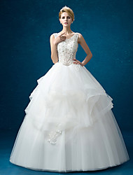 A-line Wedding Dress Floor-length Jewel Organza with Lace
