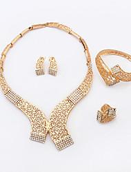 Women's New Fashion Luxury Hollow Droplets Shiny Rhinestone Collar Necklace Bracelet Earrings Ring Set Bridal Set