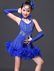 Latin Dance Dresses Children's Performance 6 Pieces Fuchsia / Red / Royal Blue