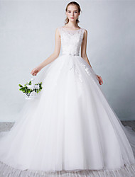 Ball Gown Wedding Dress Court Train Scoop Tulle with Lace / Sash / Ribbon / Beading