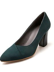 Women's Shoes Chunky Heel Pointed Toe Heels Black / Green / Gray