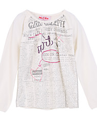 Girl's White Tee,Cartoon Cotton Summer
