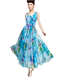 Women's Sexy Floral Chiffon / Swing Dress , Round Neck Maxi Silk / Spandex