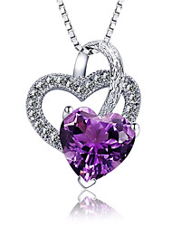 Women's Pendant Necklaces Crystal Silver Sterling Silver Zircon Rhinestone Fashion Purple Jewelry Party Daily Casual 1pc