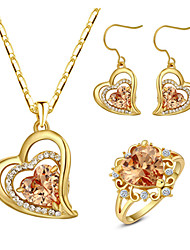 HKTC Classic 18k Yellow Gold Plated Champagne Simulated Diamond Heart Ring and Earrings and Necklace Set