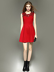 Women's Simple Solid Sheath Dress , Round Neck Above Knee Polyester
