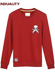 Trenduality® Hombre Escote Redondo Manga Larga Camiseta Rojo - 47053