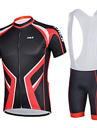 CHEJI Men Bib Shorts Sleeve Cycling Jersey Set Breathable Padded Bib Shorts Set