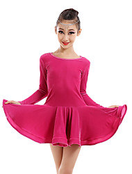 Latin Dance Dresses Children's Performance Velvet Draped 1 Piece DressDress length S(110):60cm / M(120):63cm / L(130):66cm / XL(140):69cm