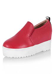 Zapatos de mujer - Plataforma - Cuñas / Plataforma - Tacones - Exterior / Casual - Semicuero - Negro / Rojo / Blanco