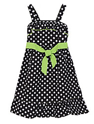 Girl's Black Dress,Dot Cotton Summer