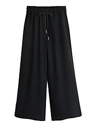 De las mujeres Pantalones Ancho / Perneras anchas-Tallas Grandes / Chic de Calle Microelástico-Algodón / Poliéster