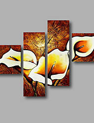 """Ready to Hang Stretched Hand-painted Oil Painting 64""""x44"""" Canvas Wall Art Modern Flowers Brown Calla Lily"""