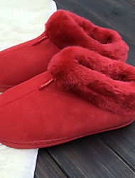 Women's Shoes Fur Winter Comfort / Round Toe Casual Flat Heel Pink / Red