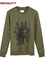 Trenduality® Hombre Escote Redondo Manga Larga Camiseta Verde - 47070