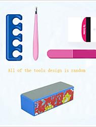 5Pcs Professional Manicure Tools Kit Rectangular Nail Files Brush Nail Art Set(Random Color)