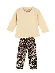 New Girls Kids Two-Piece Set O-Neck Long Sleeve Top Elastic Waist Leopard Trousers Outfits